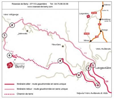 itinéraire et plan d'accès vers la Roseraie de Berty